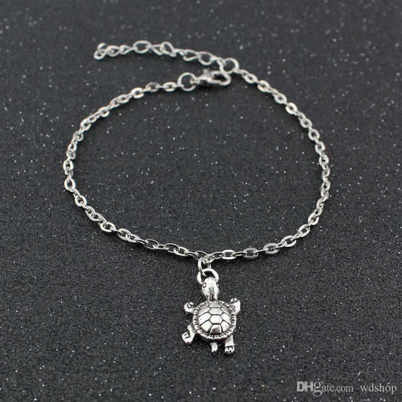 Hot Sale Vintage Silver Color Turtles Elephant Anklet Wholesale 3d Beach Barefoot Sandals Foot Chain Jewelry For Women