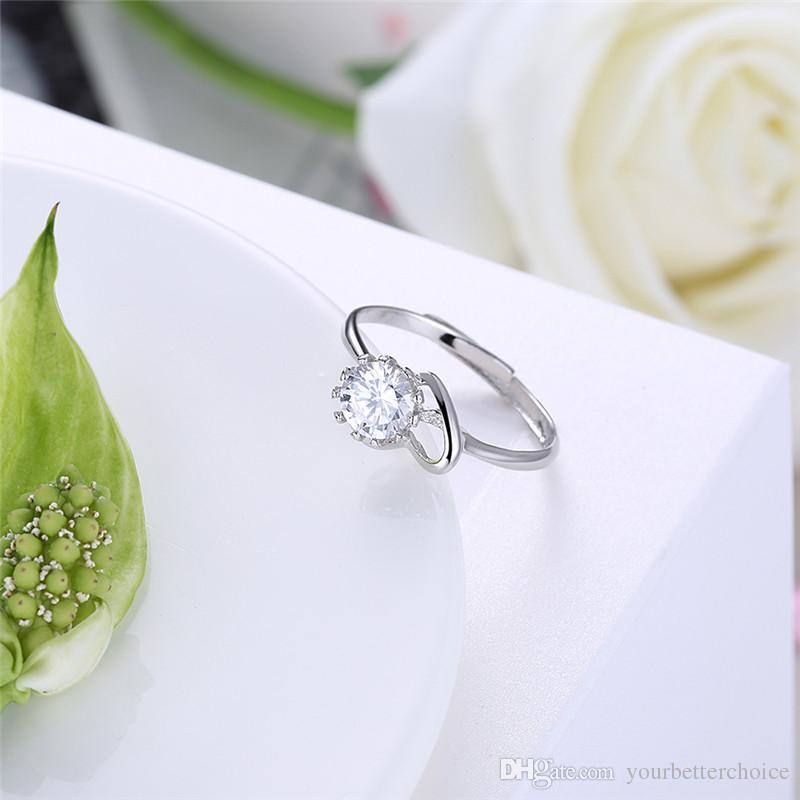 Romantic Women's Sterling 925 Silver Open Prong Setting Sparkling Round Cut Cubic Zirconia Solitaire Heart Ring