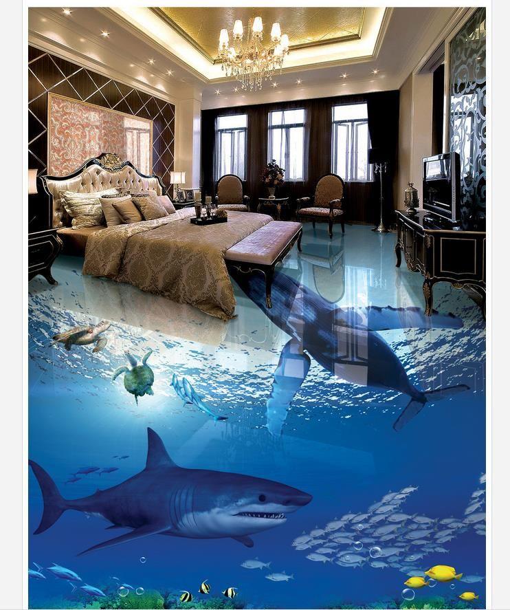 Shark Underwater World 3d Stereo Bathroom Living Room Floor Tile
