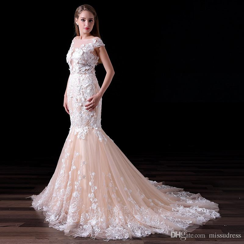 Mermaid Wedding Dresses Real Photos Milla Nova Lace Appliques 3D Flowers Custom Made Champagne White Ivory Bridal Gowns A020