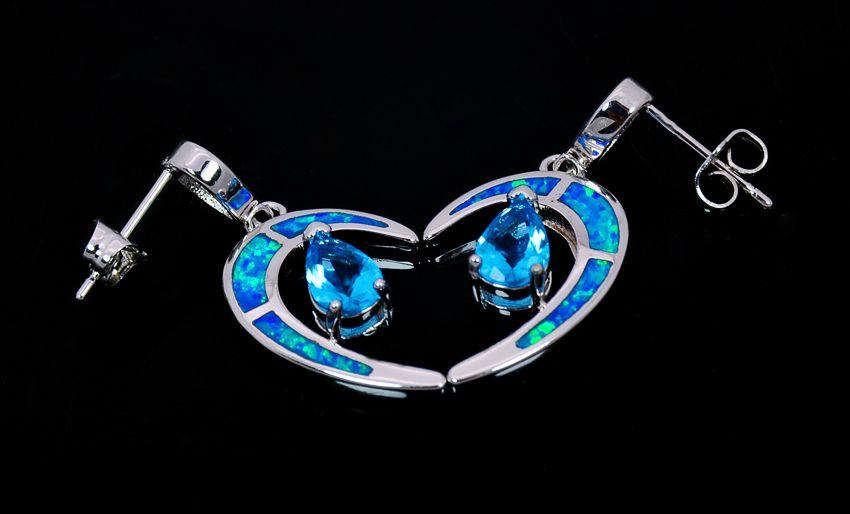 Vente en gros au détail de mode bleu fine feu opale lune boucles d'oreilles 925 bijoux de ruban EF17083108