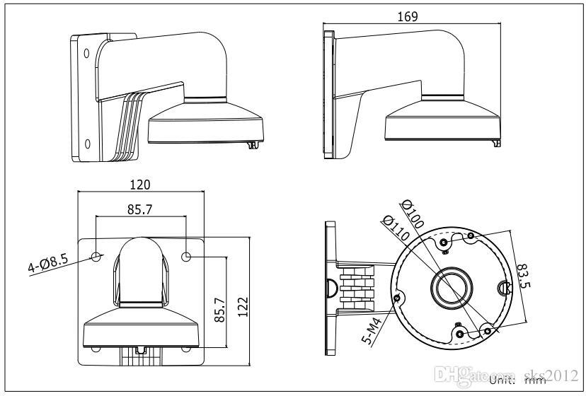 DS-2CD21xx Serisi ve DS-2CD31xx SeriesWall Montaj Braketi için Hik aparatı DS-1272ZJ-110