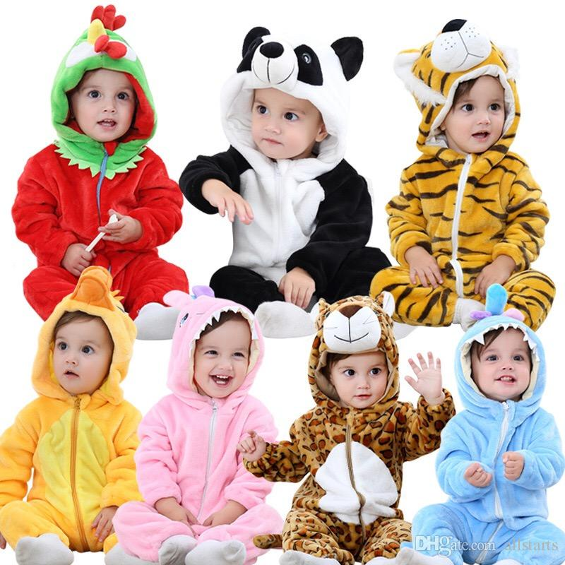 541605f2a 2019 Unisex Baby Winter Flannel Romper Outfits Suit Zipper Animal ...