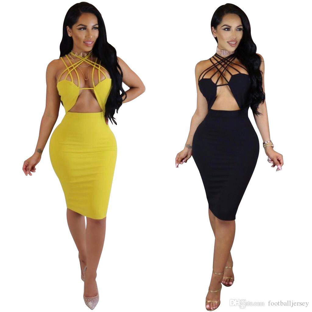 2017 Front Cut Out Halter Midi Bodycon Dress For Women Sexy Criss ...