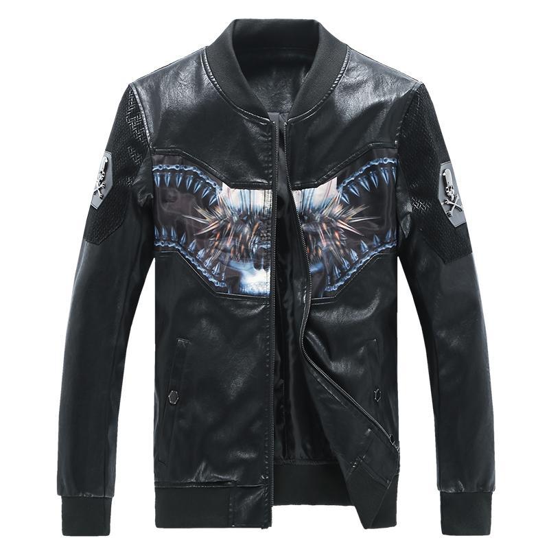 Wholesale New Fashion Black Men'S Jacket Baseball Collar Faux ...