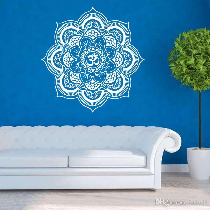 k109 yoga flower wall sticker mandala floral decals for living room