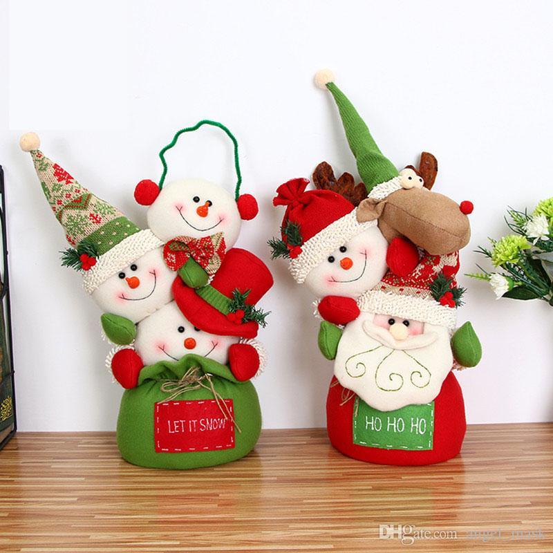 New Christmas Doll Knit Bag Toy Santa Claus Snowman Christmas ...