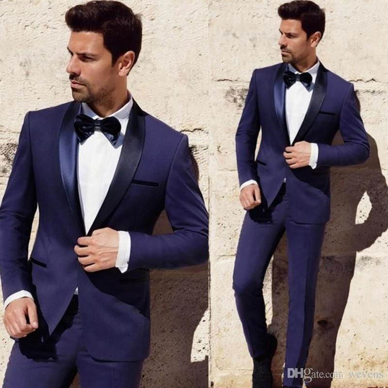 Navy Blue Men Casual Suit Shawl Lapel 2 Buttons Satin Wedding Tuxedos for Men Jacket and Pants Groomsmen Suits Set