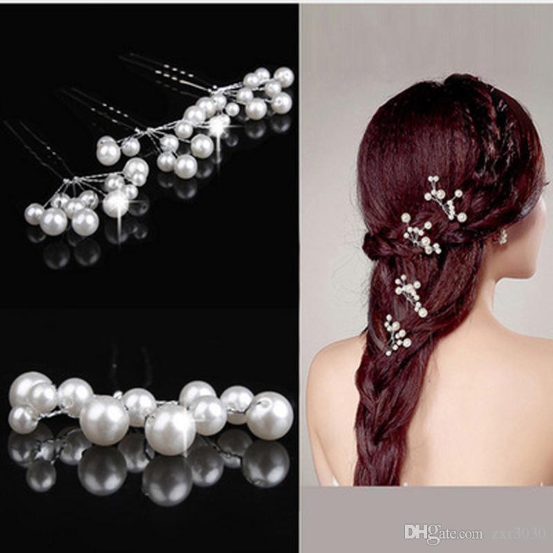 Pinzas para el pelo de cristal de la flor Popular nupcial de la boda perlas del pelo del Rhinestone Clips de la dama de honor desgaste del pelo Accesorios Mujeres