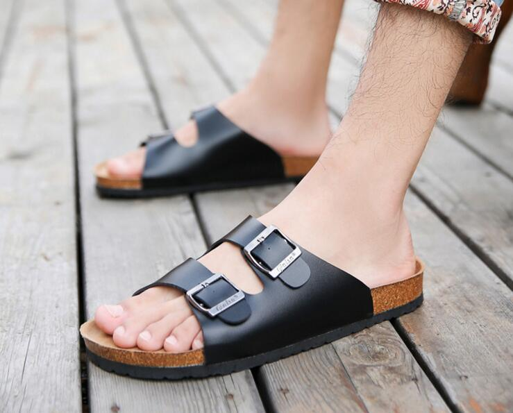 New Summer Beach Cork Slippers Sandals Casual Double Buckle Clogs Sandalias  Men Women Couples Slip On Flip Flops Flats Shoe Plus Reef Sandals Gold Shoes  ...