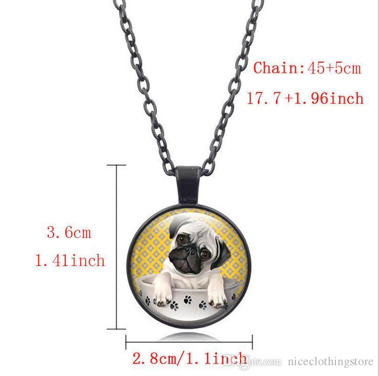 Fashion Pug Teacup Time Gem Cabochon Necklace Animal Dog Love Glass Pendant Nice Jewelry Accessary Gift Girl Black/Brown/Silver