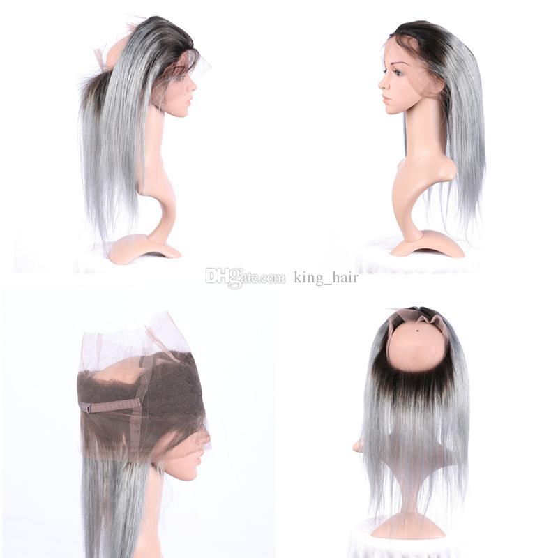 Ombre # 1B Grey Hair Bundles Avec 360 Dentelle Frontale Foncé Root Sliver Grey Droite Extension De Cheveux Vierges Avec Pre Plumée 360 Frontal