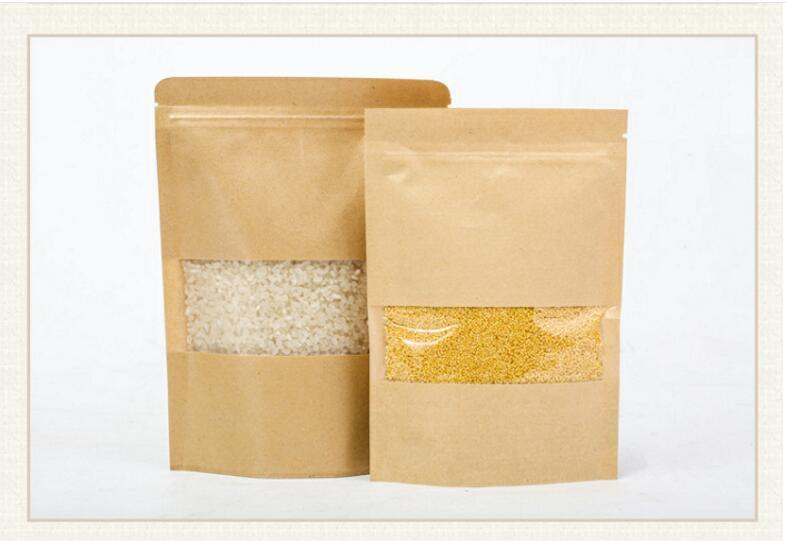 Stand-up Kraft Paper Food Gift Bags With Frosted Window Zipper Closure Shopping Bag Pouch for Snack Cookies Candy