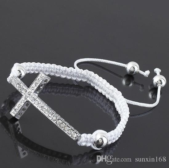 Clear Crystal Curve Side Ways Silver Plated Cross Connector Macrame Adjustable Bracelet Jewelry