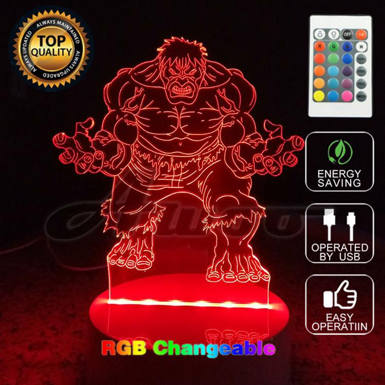 Avengers Hulk 3D Model Toy Illusion Bulbing Night Light Projection Kids Bedside Table Lamp USB LED Electronic Gadget Home Decor