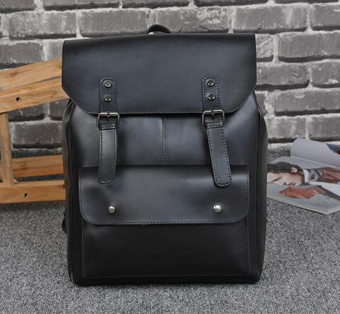 f613a174957 Leisure Trend Crazy Horse Leather Men Backpack Backpack Vintage Locomotives  Contracted Clamshell Students Travel Bag Mens Brand Package School Backpack  ...