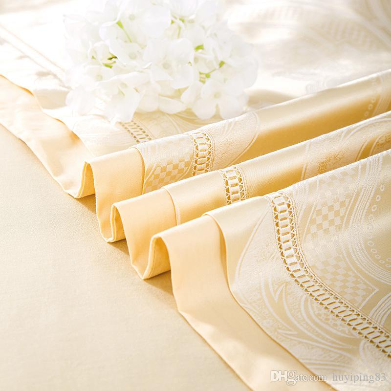 ensembles de literie or jacquard en satin de luxe 4 / soie / couverture lit en coton lit queen king housse de couette drap de lit lin textile Accueil literies