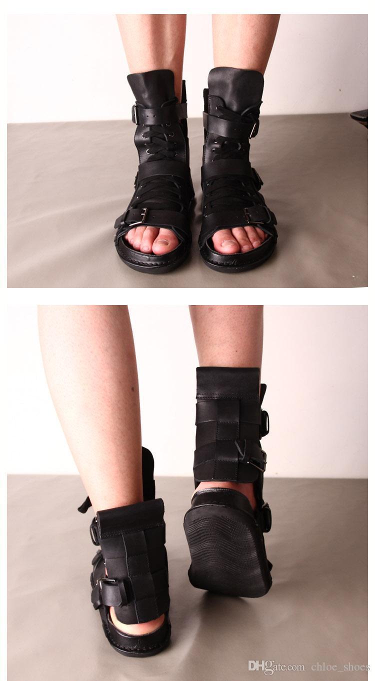 207 Punk Style Uomo Sandali Flats Scarpe estive Stivaletti alla caviglia in pelle Casual Roman Gladiators Scarpe da spiaggia nere Infradito