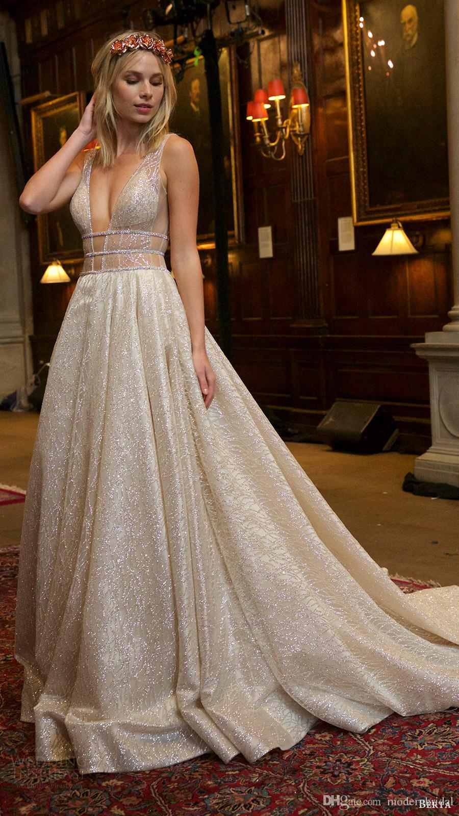 2017 Berta Bridal Wedding Dresses Deep V Neckline Sequin Lace Beaded ...