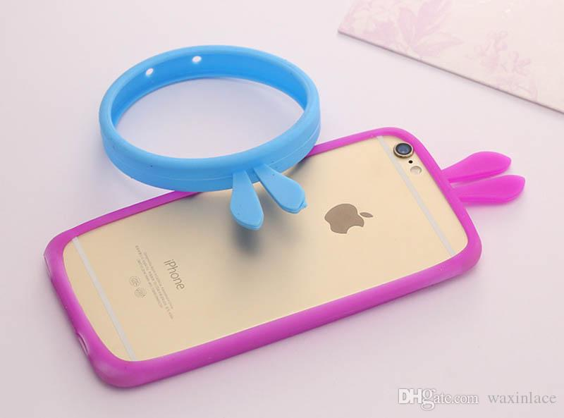 Portable Universal 4.0-5.5 inch Screen Multi Rabbit Ear Pattern Ring Silicone Bumper Frame Phone Cover Case for Iphone Samsung