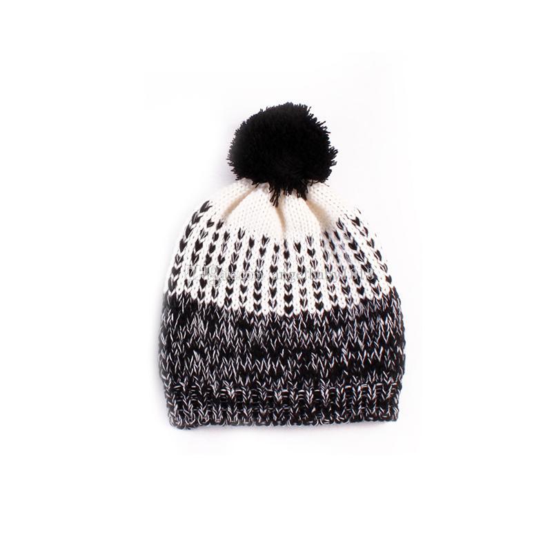 Mode Baby Mädchen Häkeln Wolle Garn Hüte Kinder Hand gemacht Stricken Warm Caps Earflap Herbst Winter Beanie Ohrwärmer mit Haarbalbe