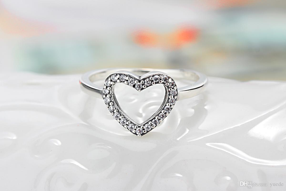 도매 925 실버 전체 다이아몬드 반지 반지 여자 친구를위한 판도라 큐빅 지르코니아 기념 주얼리 선물