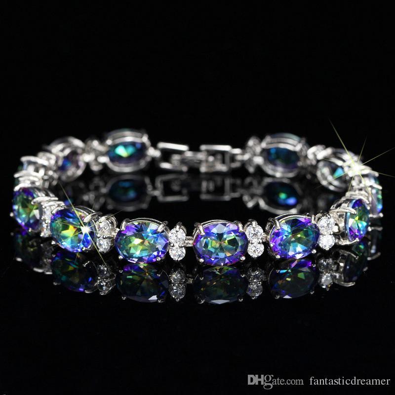 Luxury Oval CZ Diamond Bracelet European Wedding Brass Jewelry Bijoux Mystic Topaz CZ Paved Tennis Bracelet For Women Fashion Bijouterie B76