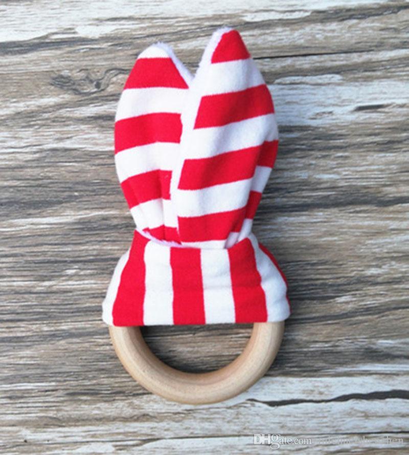 28 الألوان الطفل INS حلقات التسنين الخشب الطبيعي الدائرة مع الأرنب الأذن نسيج الوليد الأسنان ممارسة لعبة التدريب اليدوية الدائري B001