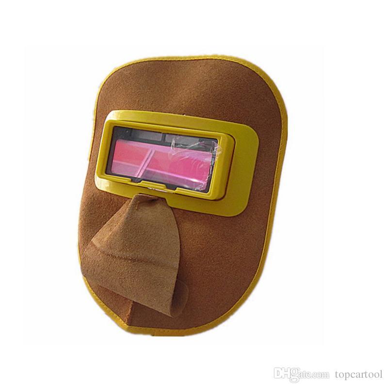 Nova Soldador Máscara de Olhos Capacete Protable Couro Auto Escurecimento Filtro de Lente Capa Capacete Máscara Cap Solda Solar Carga Função