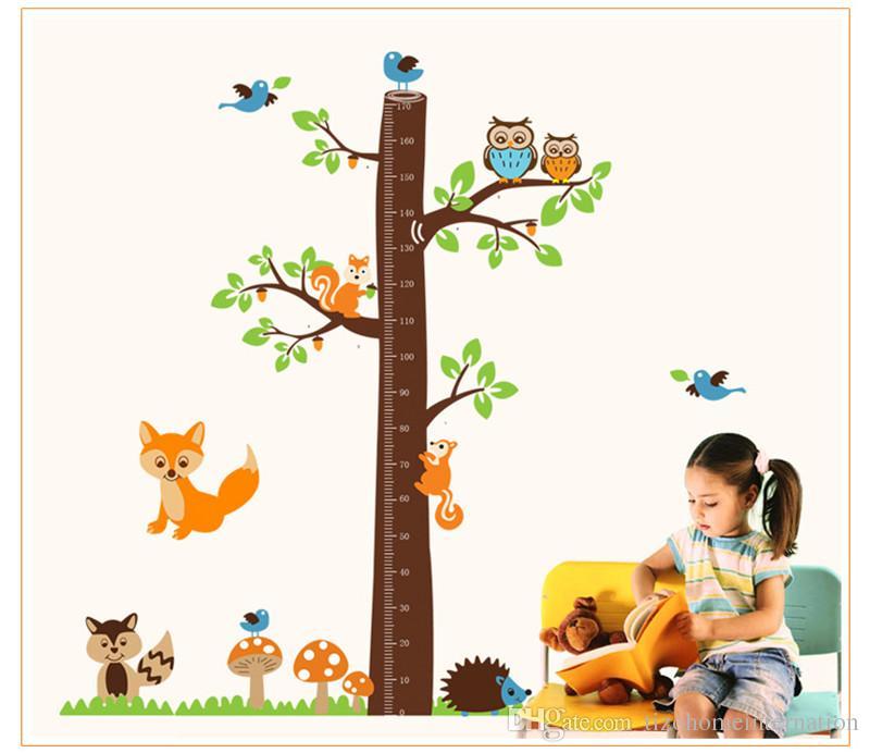 scoiattoli foresta animali grafico di crescita adesivi murali camera dei bambini decorazione del fumetto murale art home decalcomanie bambini regalo altezza misura