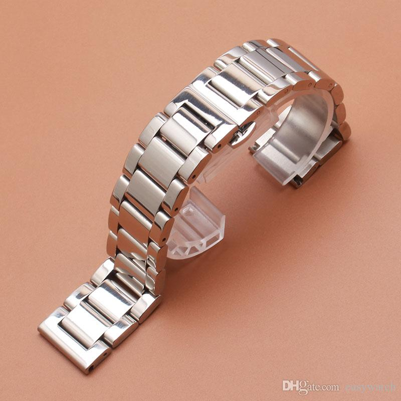 18mm 20mm 21mm 22mm 23mm 24mm Silver polished stainless steel metal Watch band strap Bracelet fashion butterfly buckle clasp watch accessory