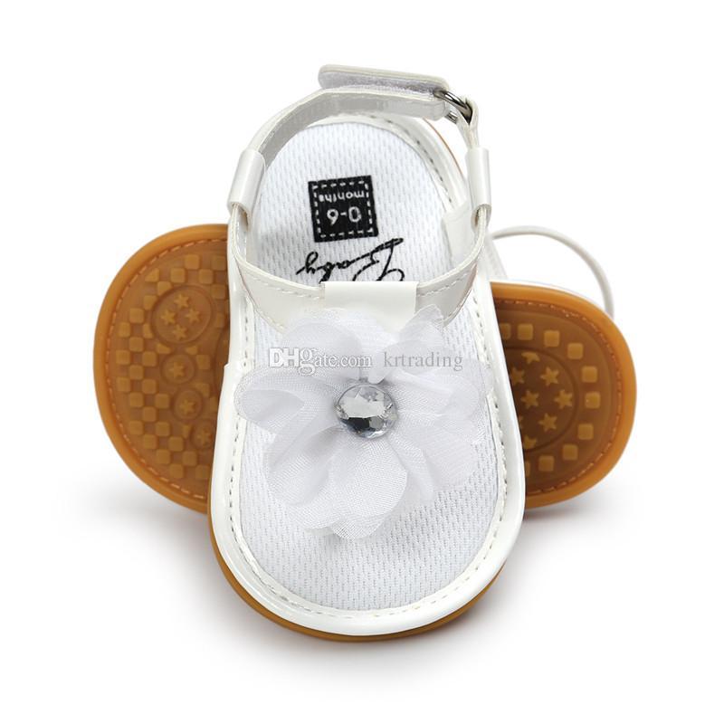 es Bebés niñas flor sandalias de tiras pu suela suave sandalias de los dedos de los pies de verano lindo mocasines de moda primeros caminantes para 0-2T