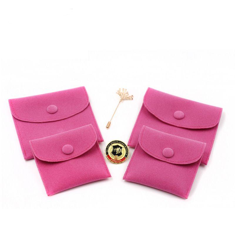 Busta di imballaggio di gioielli regalo con chiusura a scatto Custodia di stoccaggio di gioielli resistente a polvere in velluto bifacciale con colori assortiti