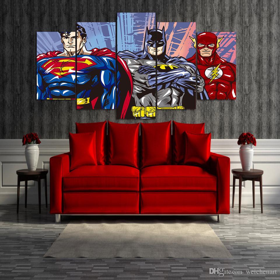 / Ensemble Encadré HD Imprimé de Bande Dessinée Superman Batman Flash justice ligue Groupe Peinture Toile Imprimer chambre décor affiche photo peinture