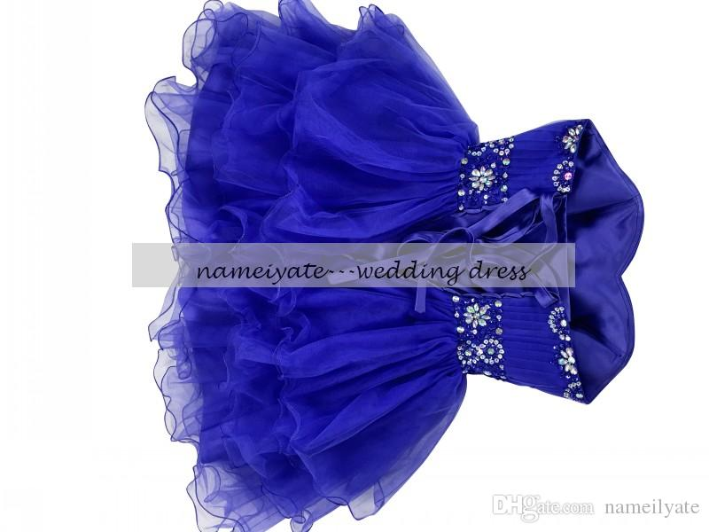 Royal Blue Ball Gown Sweetheart Prom Dresses Rea Sample Lace-up Mini/Short Sleeveless Rhinestone,Draped Cocktail Dresses