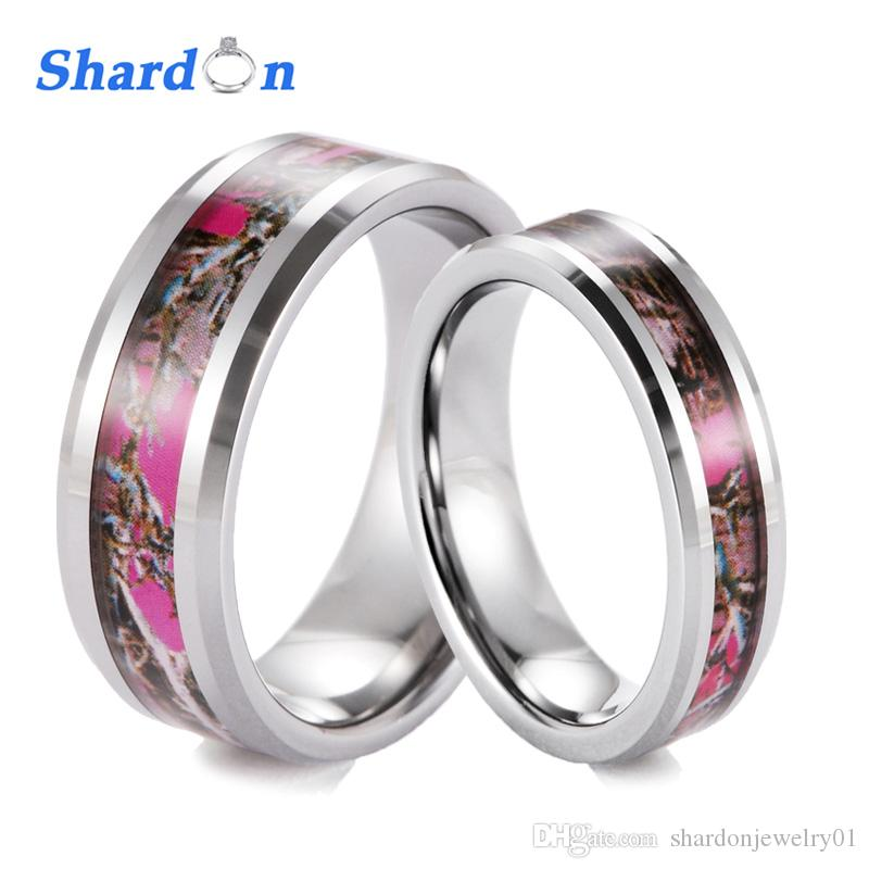 2018 Shardon 6mm 8mm Tungsten Camo Wedding Band With Beveled Edges