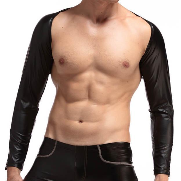 c7da211bad8d6 Mens Sexy Faux Leather Crop Tops Long Sleeves Tank Tops Male Gay Bar Stage  Performance Black Sleevelet Novelty Wear Mens Tank Tops Men Vest Top Men ...