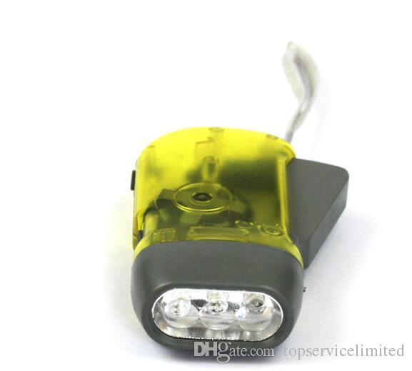Nova protable 3 led dínamo wind up tocha luz manivela mão imprensa manivela nr camping frete grátis DHL grátis