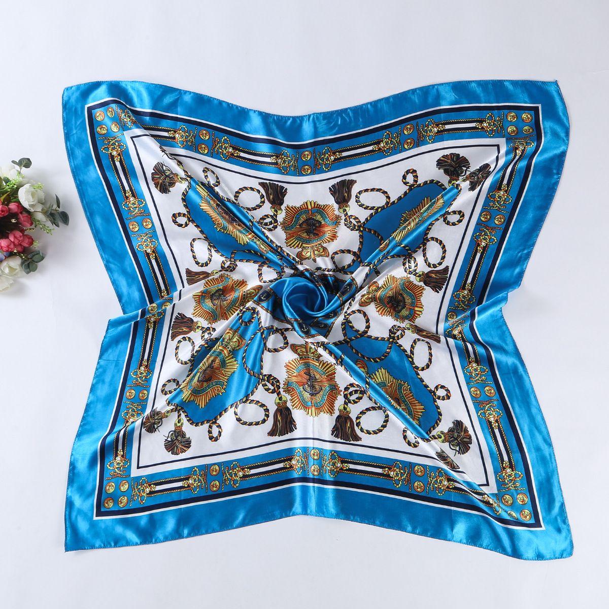 New Fashion Tassel Belt Print Satin 90cm Square Scarf Women Good Quality Large Size Imitated Silk Scarves Polyester Shawl Hijab A90SDFJ004