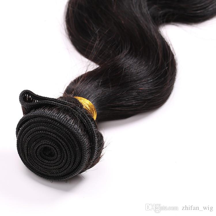Z&F Brazlian Virgin Hair Weft 8-30 inch Black Virgin Remy Hair Body Wave Human Hair Retail Wholesale #BZHW01