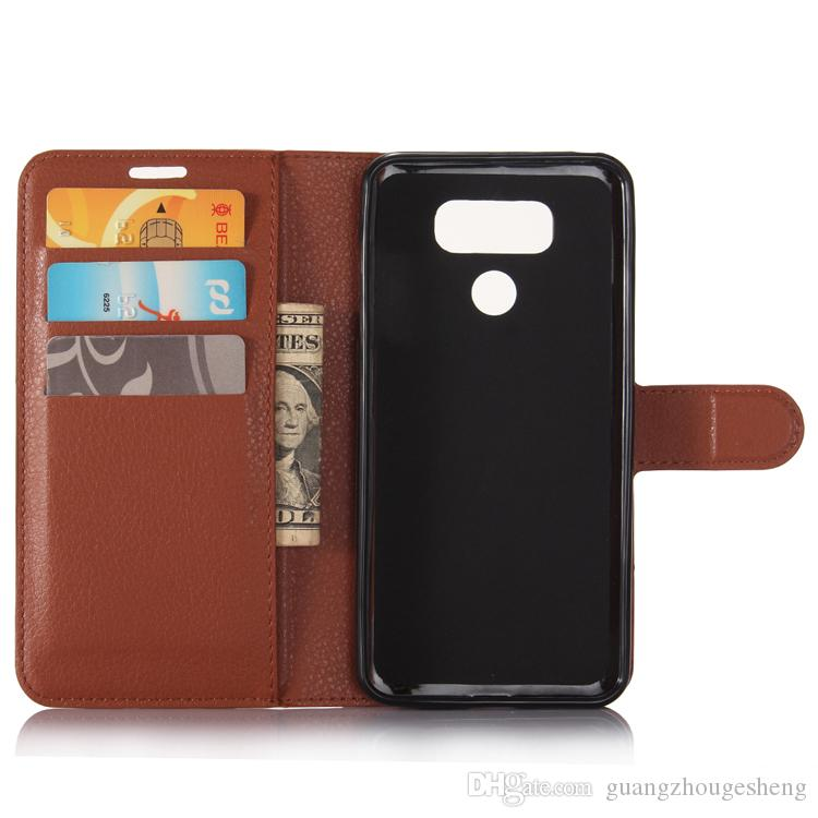 Folio Litchi Texture Leather Flip Wallet Card Holder Cover Case For LG W30 G6 Smart Phone Free Ship