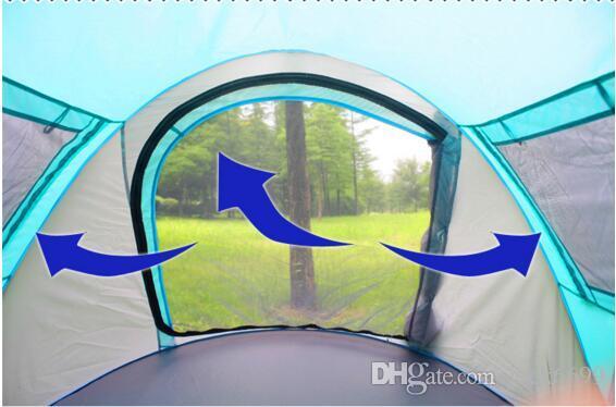 Tenda alberi da pane all'aperto 3-4 persone Campo automatico Campeggio doppia pioggia 2 secondi Set tenda aperta