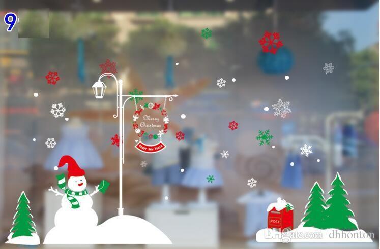 Noel pencere çıkartmalar tutkal olmadan 16 stilleri ren geyiği pencere ekran elektrostatik gizli Noel Duvar Çıkartmaları CS002