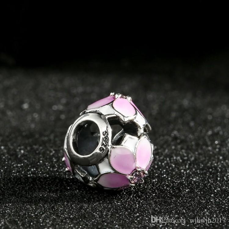Enamel Magnolia Bloom Charms Beads Authentic 925 Sterling-Silver-Jewelry Pink Crystal Flower Bead Fit Brand Bracelets DIY Accessories