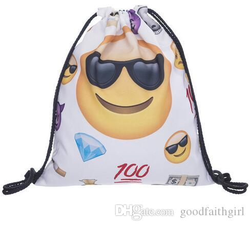 Fashion oxford smiley emoji Drawstring Bag colleage bags backpacks travel knapsack sport bag by goodfaithgirl