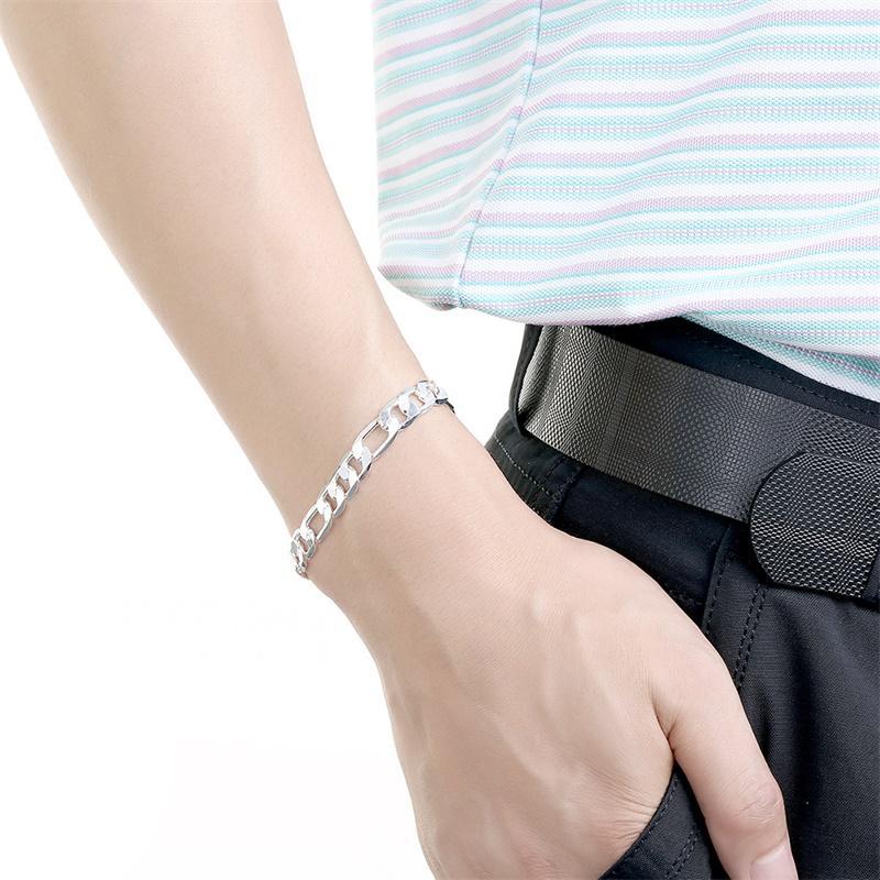 YHAMNI 오리지널 리얼 솔리드 925 순수 실버 남성 패션 매력 팔찌 럭셔리 웨딩 보석 선물 H200