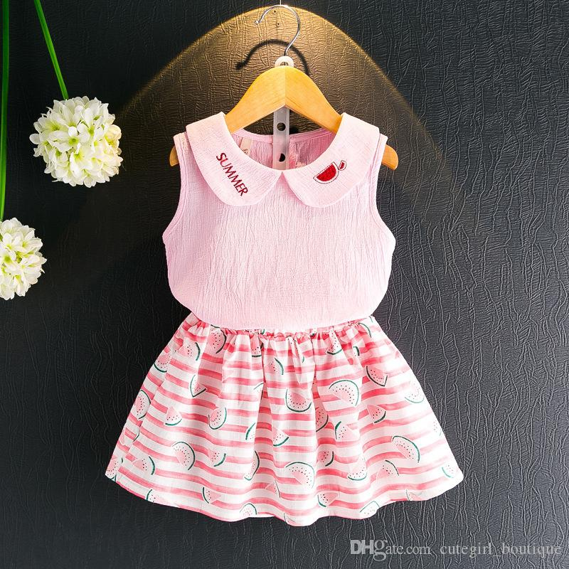 d1be43011c8ec 2017 new Summer Girl watermelon dress suits children cotton lovely  Sleeveless vest T-shirt + watermelon skirt 2pcs suit baby clothes