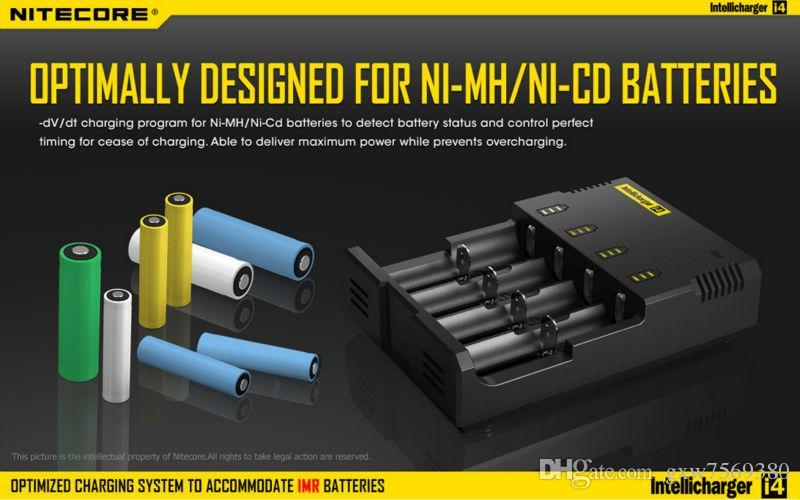 100% оригинальный Nitecore i4 Intellicharger универсальный Li-ion/Ni-MH/Ni-Cd зарядное устройство для 26650 18650 18350 16340 14500 10440 и т. д.
