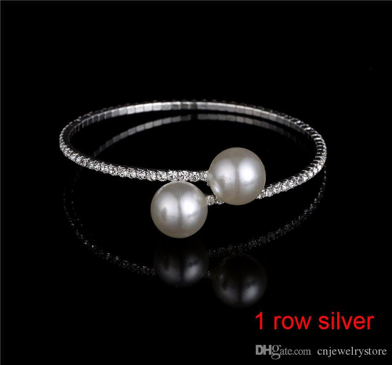 Vendita calda multi fila spirale strass perla braccialetto di fascino braccialetto da sposa bracciali elastici braccialetti gioielli all'ingrosso le donne