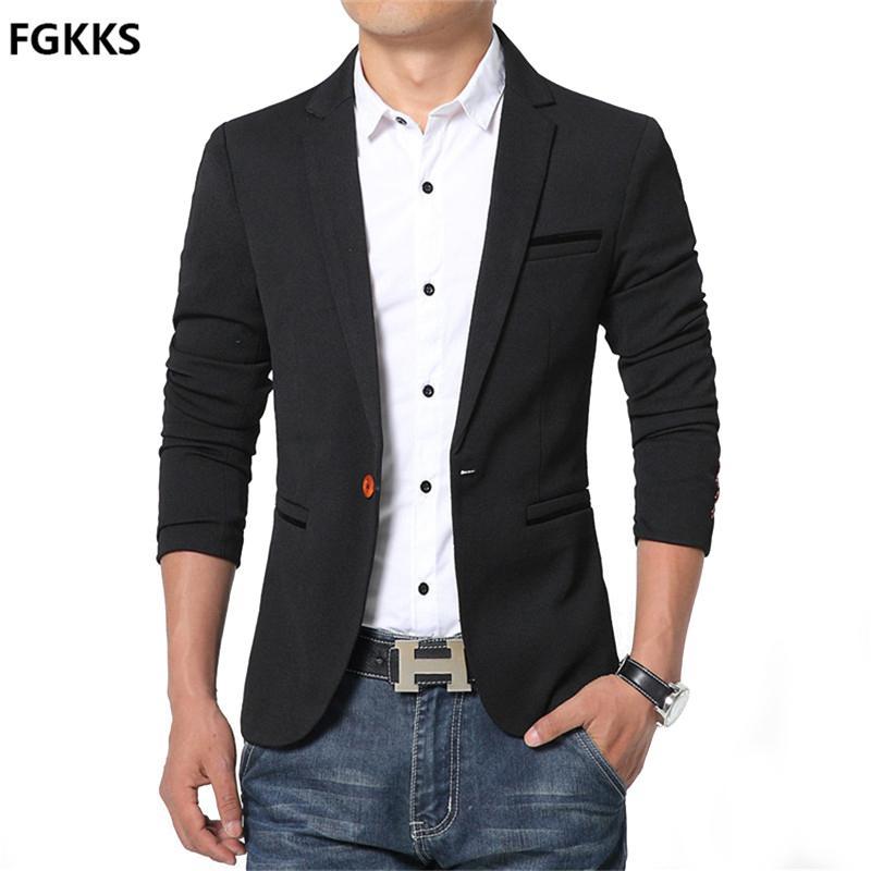 2cf2a07d78973 2019 Wholesale Hot Sale New Arrival Blazer Mens Casual Jacket Solid Color  Cotton Men Blazer Jacket Men Classic Mens Suit Jackets Coats From Peay, ...